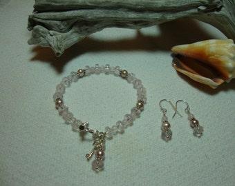 Rose Quartz & Pink Freshwater Pearl, Dangle Earrings