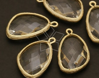 PD-241-MG / 2 Pcs - Racy Drop Pendant (Crystal), Matte Gold Plated over Brass / 13mm x 23mm