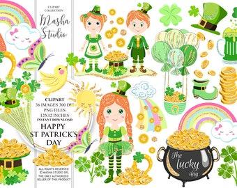 St Patricks Day Clipart Irish Girl Clipart Cute Leprechaun Illustration St Patricks Day Planner Stickers Gold Pot Clipart Gold Clipart