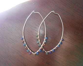 Hematite-Inspired Glass Mixed Metal Hoop Earrings