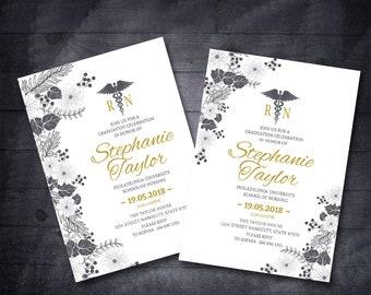 RN Nursing Graduation Invitation Nursing School Graduation Invitation Floral Nursing Graduation Invitation Black And Gold Graduation Invite