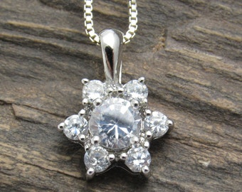 Sterling Flower Necklace CZ Pendant Vintage Jewelry