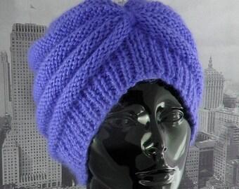 HALF PRICE SALE Instant Digital File pdf download Knitting Pattern - Chunky Beehive Turban hat knitting pattern by madmonkeyknits