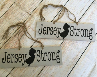 Jersey Strong Rustic Style Handmade Sign - Handpainted Jersey Strong Sign - Hanging Jersey Strong Sign