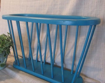 Magazine Rack, Mail Holder, Bathroom Decor, Solid Wood, Distressed Turquoise,Shabby Chic, French Country, Party Decor, Wedding Decor,