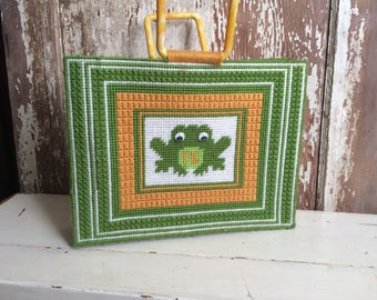 Prince Charming Vintage Needlepoint Frog Tote