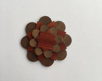 Walnut and Padauk Lapel Pin - Wood Lapel Pin - Mens lapel flower - wooden lapel - lapel