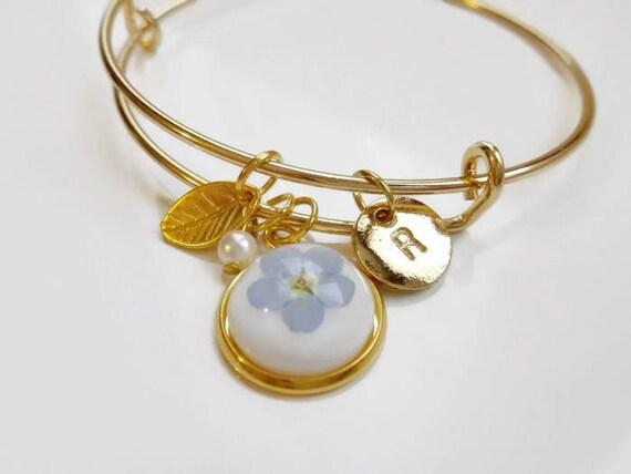 Custom memorial bracelet gold nature jewelry monogram charm initial letter bracelet Bridesmaids' gift Memorial personalized forget-me-not