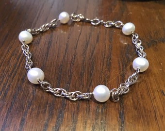 Vintage 925 silver chain bracelet with pearls / Sterling silver bracelet / Pearl bracelet/ Wedding jewelry/ Vintage bracelet