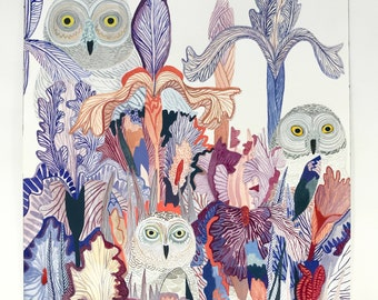 Snowy Owls and Irises