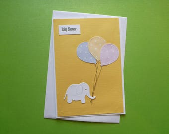 Elephant and Balloons Baby Shower Card FREE SHIPPING