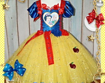 Handmade Girls Snow White Disney Princess Tutu Dress