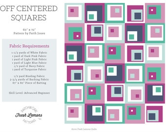 Modern Quilt Pattern - Off-Centered Squares - PDF