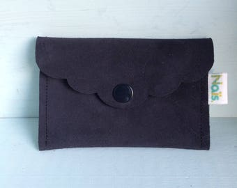 Blue velour leather wallet
