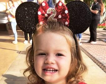 2nd Birthday Disney Ear   Minnie Mouse Ear Headband   Second Birthday Ears   2nd Birthday   Minnie Mouse Party   Mickey Ears   Disney Ears