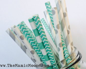 Set of 25 Teal and Silver Patterned Straws ~ Perfect for BRIDAL SHOWER &  WEDDINGS!