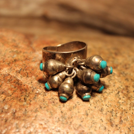Large Sterling Mexico Turquoise Ring Signed 6.7 Grams Size 6.5 Modernist Ring Turquoise Sterling Silver Dangling Kinetic Ring Turquoise Ring
