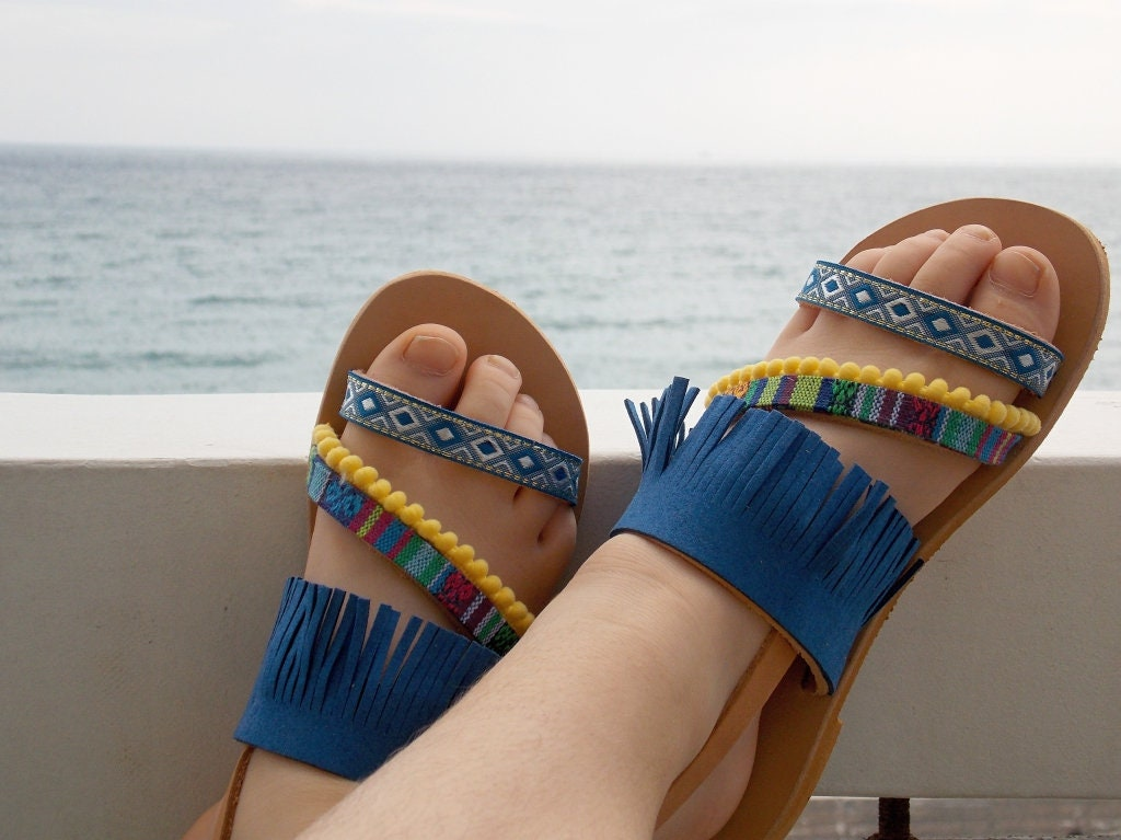 Boho Des S Grec Les Cuir Sandales Bleu Filles Enfants vx0rqwFnv