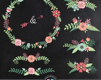 "Chalkboard Wedding Clipart ""CHALKBOARD WEDDING FLORAL""clip art ,VintageFlowers,Floral Wreath,Wedding Flora,invitation Instant Download Wf012"