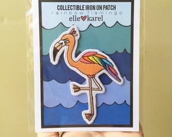 Rainbow Flamingo - Elle Karel Iron On Embroidered Patch