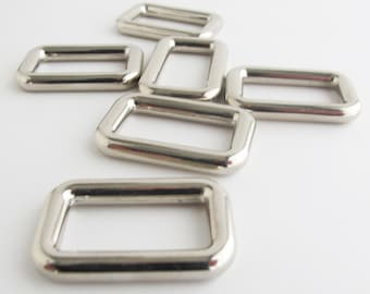 Rectangle Rings 1.25 Inch | Nickel plated rectangle rings with 1.25 inch opening.