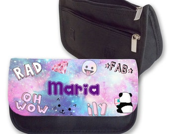 Personalised Girls Pink Galaxy Aesthetic Hipster Pencil Case Make Up Bag Back To School