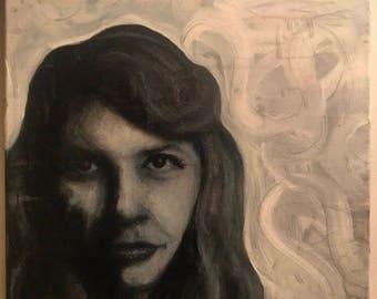 Charcoal & Acrylic Sylvia Plath Portrait