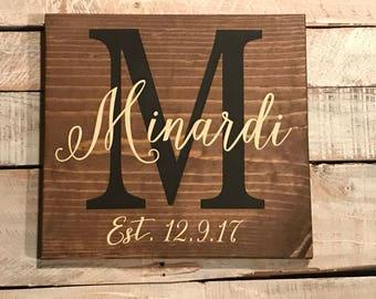 Family Name / Initial / Established wood sign
