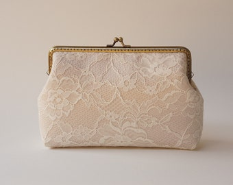 Champagne silk Ivory Lace Clutch / Wedding Party / Gift ideas / Vintage Inspired  - Ready To Ship