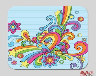 Doodle Drawing Rainbow Computer Mousepad