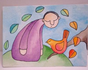 Man And Bird - Original Illustration ACEO
