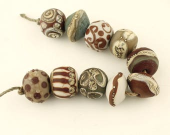 Lampwork Beads Set  Rustic, Organic, Etched Matte, Rust, Gray, Brown, Silver