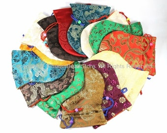 1 High Quality Tibetan Drawstring Brocade Purses Pouches- Regular Size- TibetanBeadStore Gift Mala Pouches Bags Purses- HP8-1