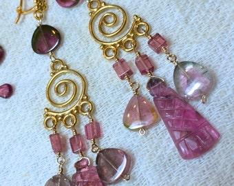 Watermelon Tourmaline Slice earrings, October birthstone, chandelier earrings, gift for her, gold earrings, Pink Tourmaline Gem Bliss