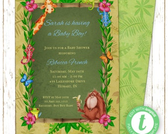Jungle Rainforest Invitation | Baby Shower | Printable Editable Digital PDF File | Instant Download | Templett | BSI158DIY
