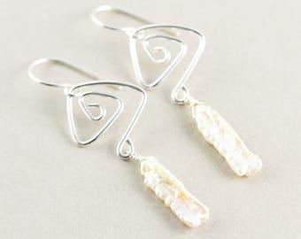 White Pearl Dangle Earrings, Branch Pearl Earrings, June Birthstone, Beach Earrings
