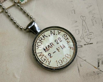 New York Vintage Postmark Necklace - Vintage Postage New York City Necklace - New York Jewelry
