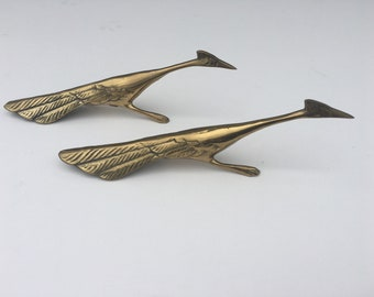 Pair of Vintage Brass Roadrunners Unique Mid Century Modern Decor Birds Animals