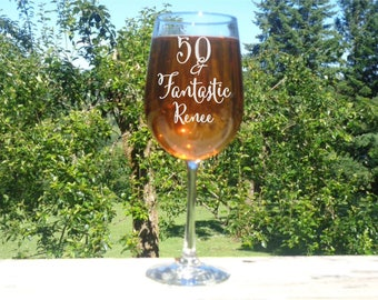 50 and Fantastic Birthday Glass, 50th Birthday Wine Glass, 50th Birthday Gift, 50th Birthday Party Favor, Personalized Large Wine Glass