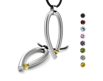 Yellow Topaz Tension Pendant in Stainless Steel