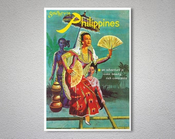 Southern Philippines Vintage Travel Poster - Poster Print, Sticker or Canvas Print / Gift Idea