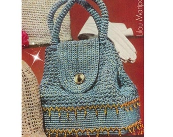 Crochet Pattern Vintage 50s Sparkling Sailor Crochet Handbag Pattern Crochet Purse Crochet Bag Pattern Bohemian Clothing Instant Download