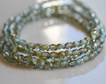 50 Lt Aqua Bronze Luster 3mm- Czech Beads- Firepolished Faceted Round- Morning Mist Petite (316-50)