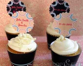 Printable digital file of customizable vintage wedding cupcake topper and wrapper set