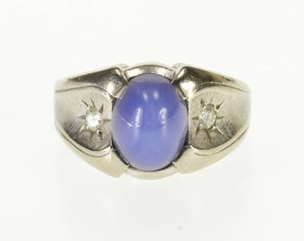 14k Sapphire* Diamond Accented Crosshatch Texture Ring Gold