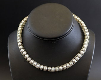 Sterling Silver Wire Knit Necklace with Silver Pearls