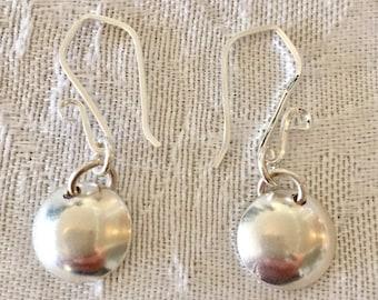 Sterling Silver earrings - Small Earrings - Domed Silver Circle Earrings - Circle Earrings- Short Earrings