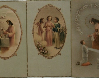 Vintage Communion Card.Ephemera.Catholic.Jesus.Saints.Vintage Catholic.Religious.Holy Card.1960s.Communion.Pink.Sepia.Brown.Victorian.Roses