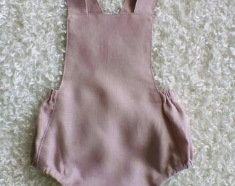 Linen romper / girls linen romper / vintage Romper / blush linen / Baby Romper / Baby Girls Romper / pink romper / linen / blush pink