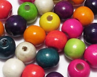 200 ROUND MULTICOLORED WOODEN BEADS MIX 8 MM NEW